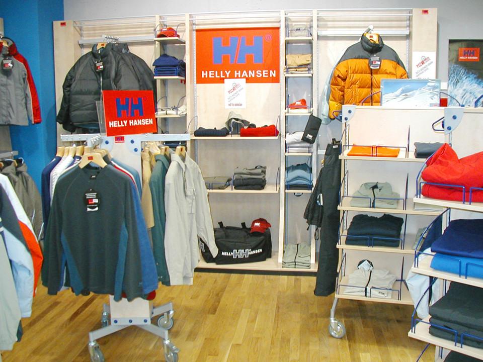 Helly Hansen - vybavení obchodu, design obchodu