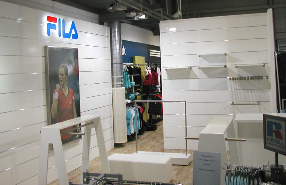 FILA - vybavení obchodu, design obchodu